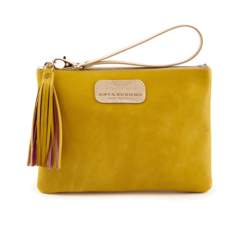 Leather Wristlet in Canary Yellow