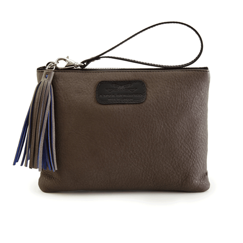 Leather Wristlet in Dark Taupe