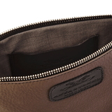 Handmade Leather Wristlet in Dark Taupe lining detail