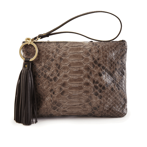 Luxury Wristlet in Diamond Python Skin front