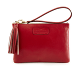 Handmade Leather Wristlet in Scarlet Red