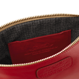 Handmade Leather Wristlet in Scarlet Red lining detail