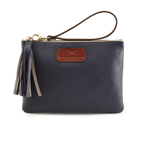Leather Wristlet in Textured Navy