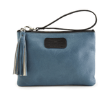 Handmade Leather Wristlet in Blue