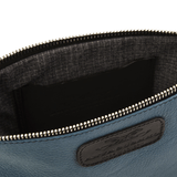 Handmade Leather Wristlet in Blue lining details