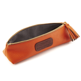 Handmade Pencil Bag in Autumn Orange lining details