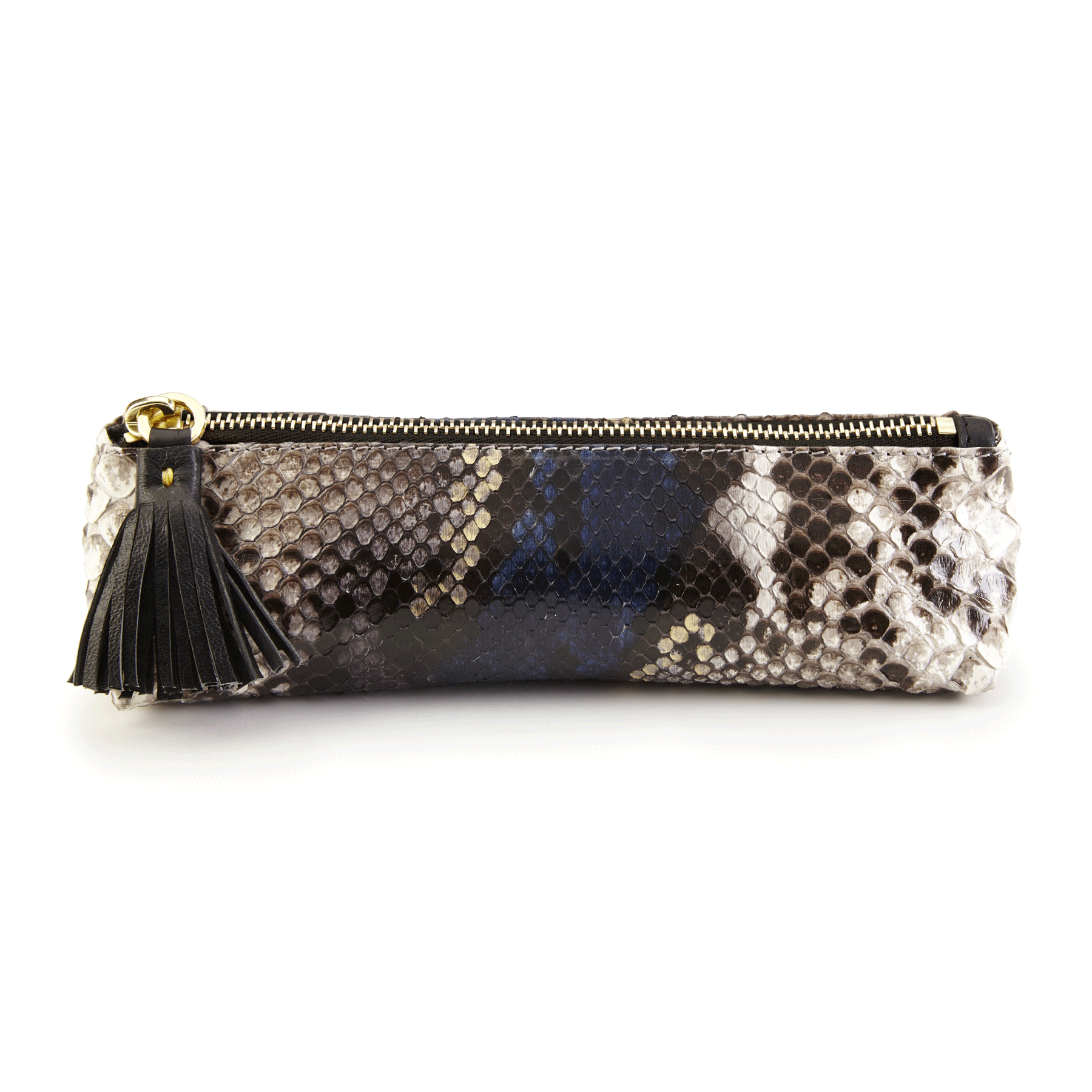 luxury leather pencil case in exotic skin | berry collection – anya