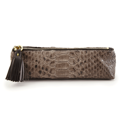 Luxury Leather Pencil in Brown Python front