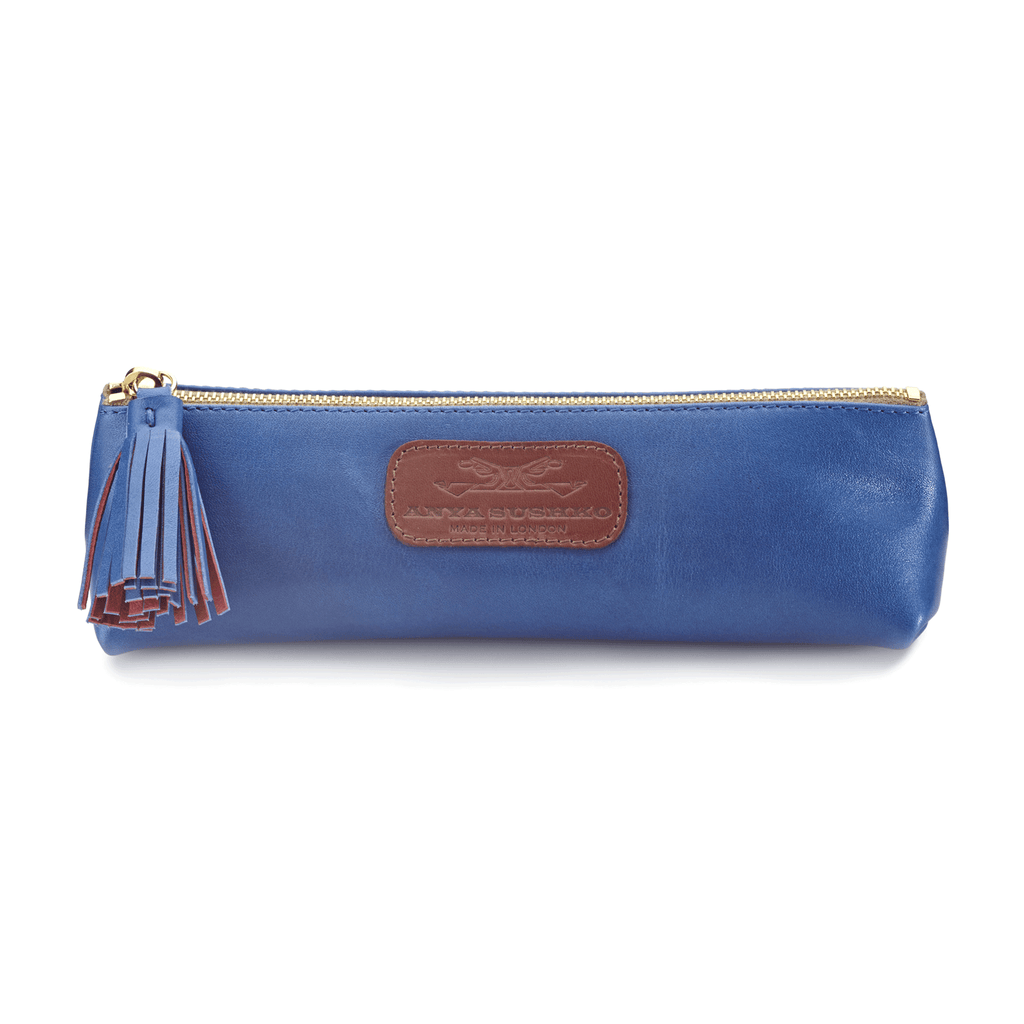 Handmade Pencil Bag in Metallic Blue