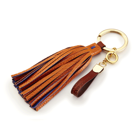 Handmade Leather Tassel in Orange and Royal Blue