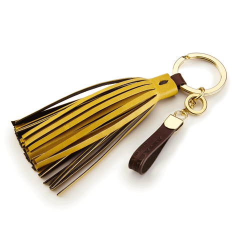 Handmade Leather Tassel in Canary Yellow and Brown