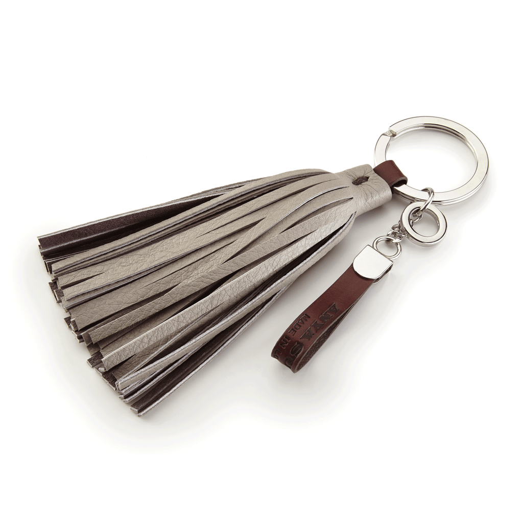 Handmade Leather Tassel in Grey and Brown