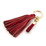 Handmade Leather Tassel in Rose Red and Taupe