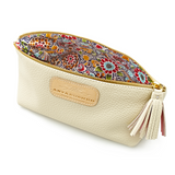 Cosmetic Case in Ivory floral lining detail