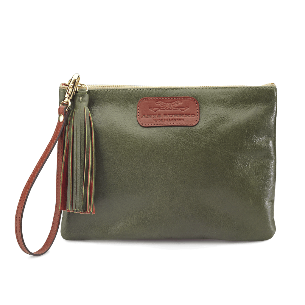 Handmade Leather Wristlet in Metallic Olive Green