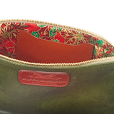 Handmade Leather Wristlet in Metallic Olive Green with bright lining details