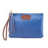 Handmade Leather Wristlet in Metallic Blue
