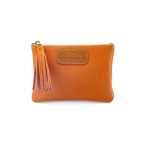 Handcrafted Leather Purse in Autumn Orange