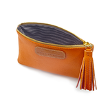 Handcrafted Leather Purse in Autumn Orange with lining detail