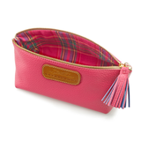 Cosmetic Case in Passion Pink with check lining details