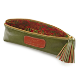 Handmade Pencil Bag in Olive Green with floral lining details