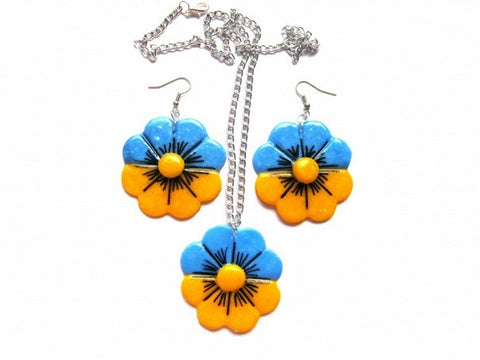 "Jewelry Set ""Ukrainian Flag"""