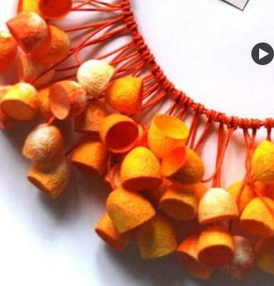 Silkworm cocoon Necklace - OR