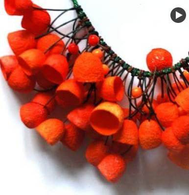 Silkworm cocoon Necklace - OB