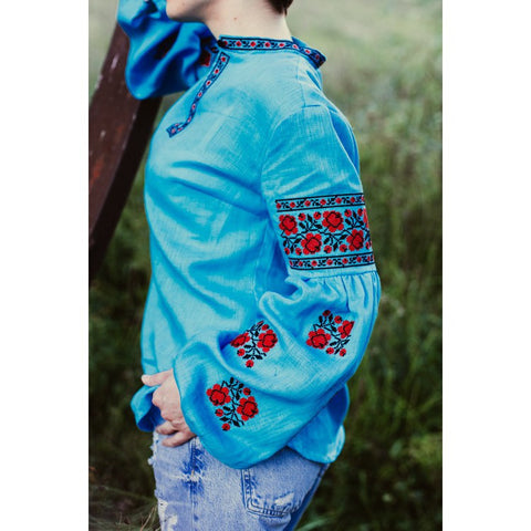 Red Roses Blue Embroidered blouse