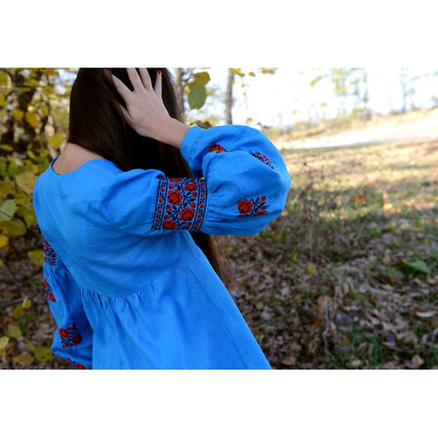 Red Roses Blue Embroidered tunic