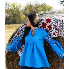 White Roses Blue Embroidered tunic