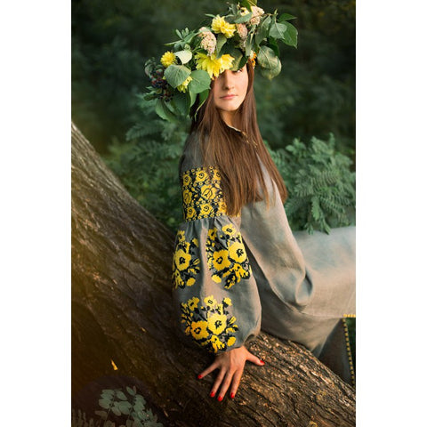 Yellow Roses Embroidered dress