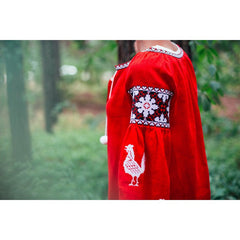Roosters Red Embroidered dress