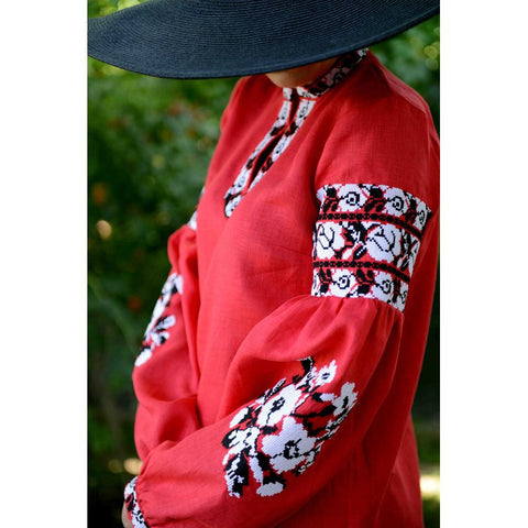 Roses Red Embroidered tunic