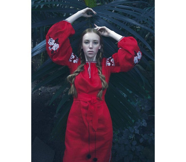 Roses, Long Red Embroidered dress