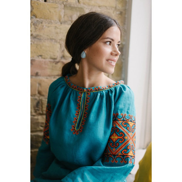 Blue-green Embroidered dress