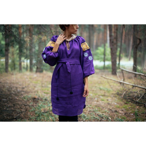 Stars Violet Embroidered dress