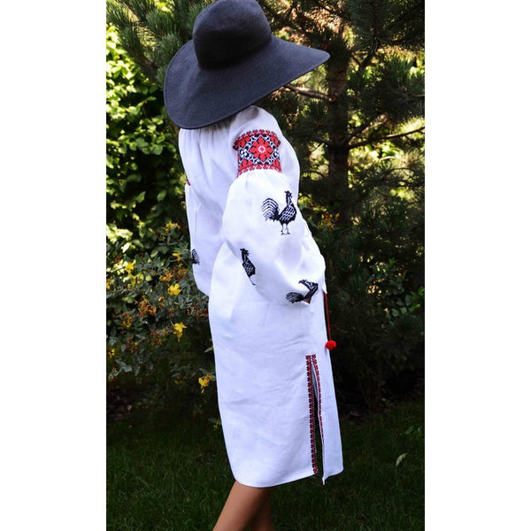 Roosters White Embroidered dress