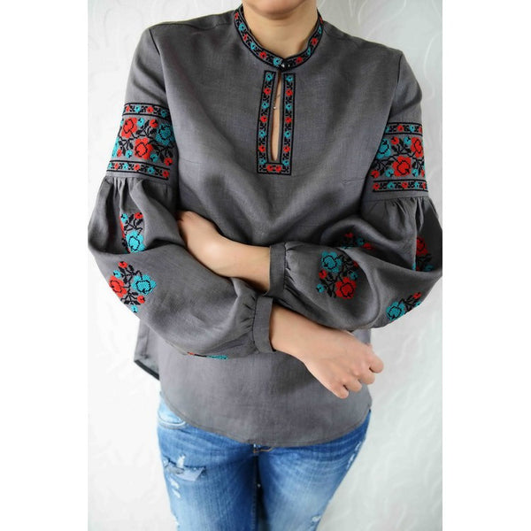 Roses Gray Embroidered blouse