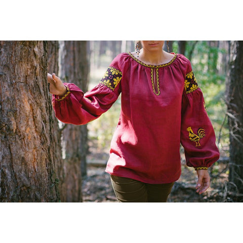 Roosters Wine Embroidered blouse