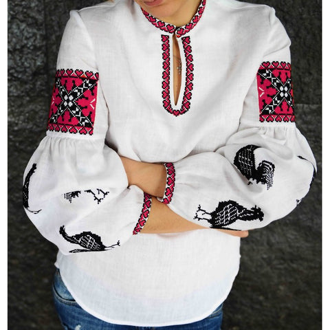 Roosters Embroidered blouse