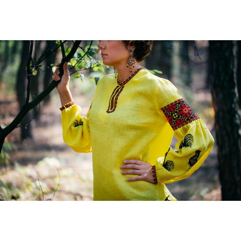 Roosters Yellow Embroidered blouse