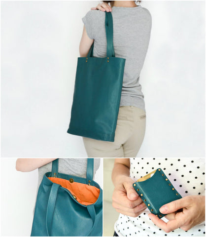 Teal eather tote bag with orange heart