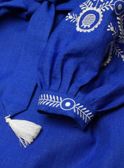 Embroidered blouse Cornflower Swirl