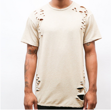 Load image into Gallery viewer, Taupe Distressed Scallop Tee