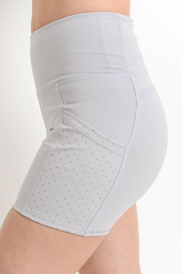 High Waist Shorts with Pockets - Ice Gray