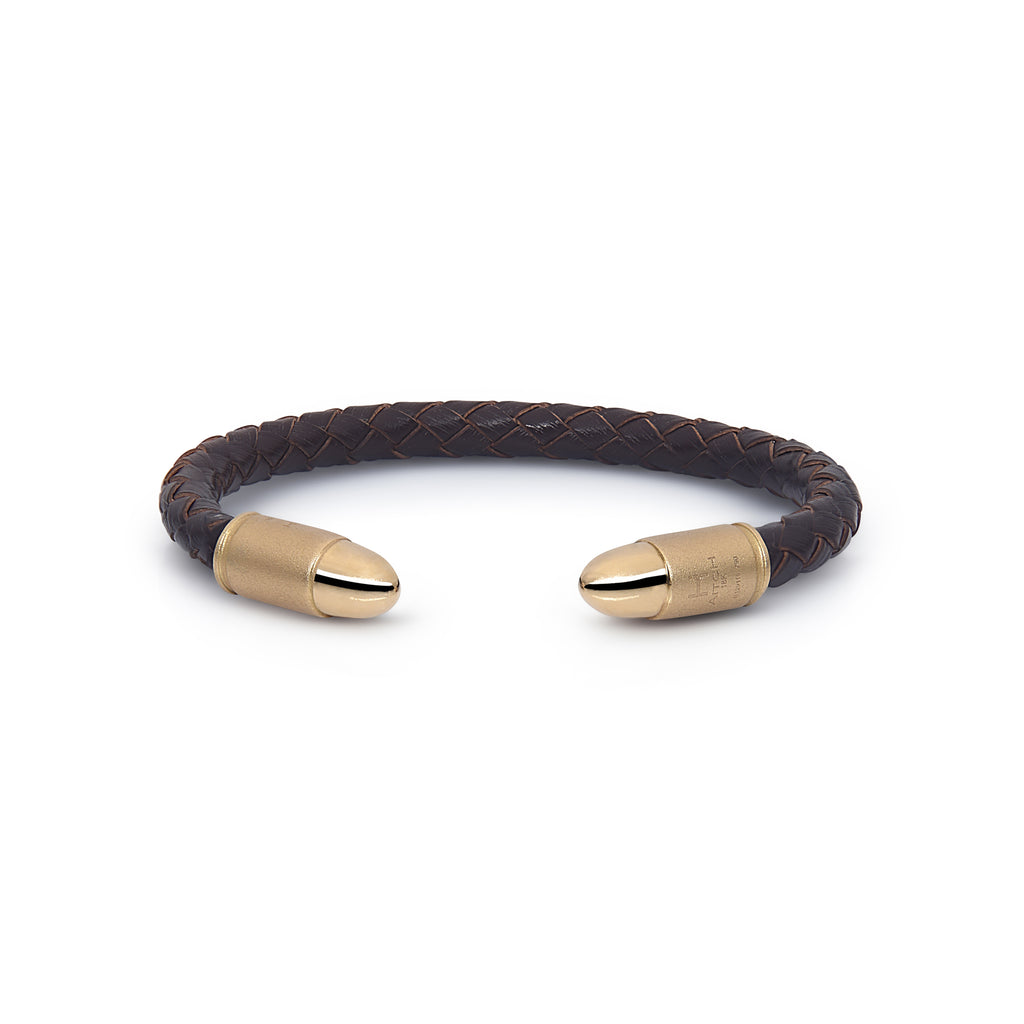 H.Aitch - Bullet Cuff Bracelet Brown Leather
