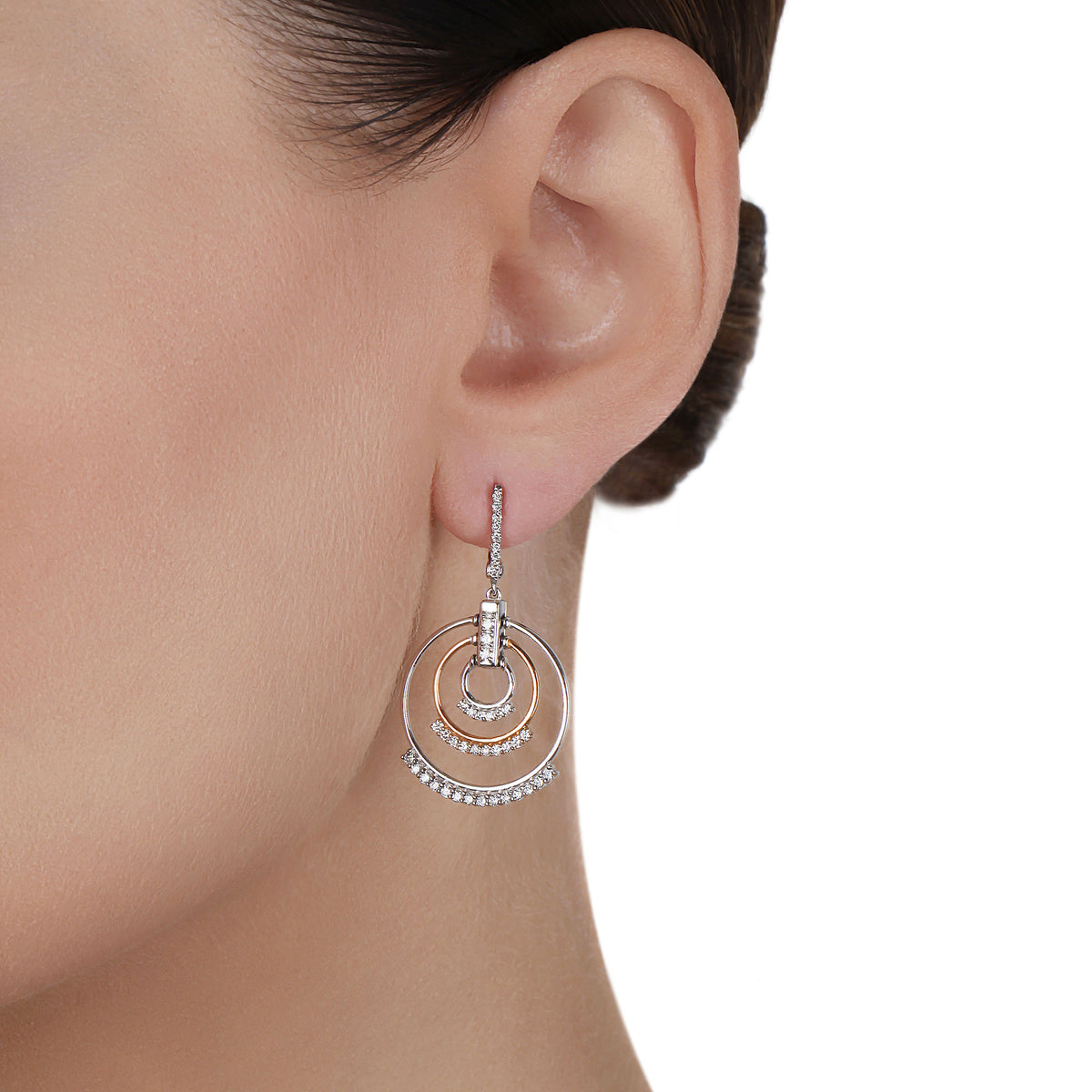 Drop Multiple Hoop Diamond Earrings