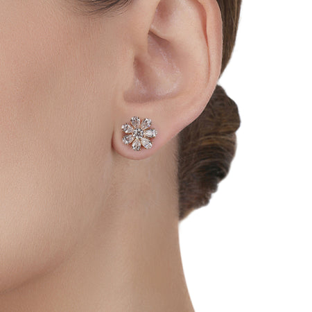 Blossom Flower Stud Yellow Gold Earrings