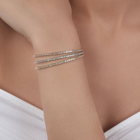 Baguettes & Round Cut Diamond Cuff
